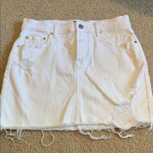 GAP Distressed white denim skirt